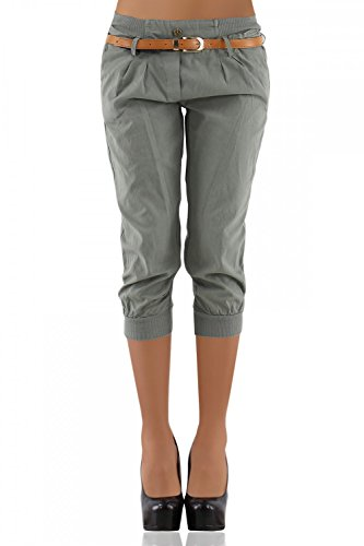 DANAEST Damen Chino Capri Hose inkl. Gürtel ( 276 ), Grösse:XL / 42;Farbe:Khaki (Leinen Hose Khaki)