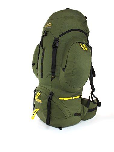 """Trekkingrucksack 70 + 10 Liter TASHEV """"VIHREN 70"""" Wanderrucksack (Grün & Orange) Armee-grün"""