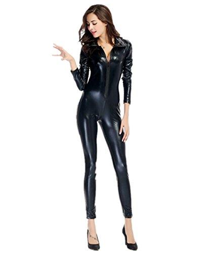Imagen de disfraz de gato para mujer cuero de patente mono elastico cosplay clubwear negro xl alternativa