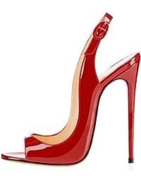 elashe Scarpe da Donna - Peep Toe Slingback Sandali - Tacco a Spillo con  Cinturino Caviglia aabe8bfc81a