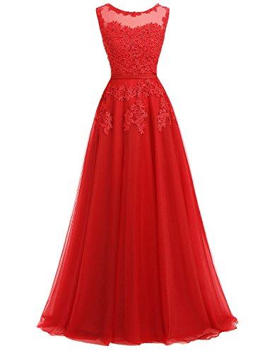 Ever Love A-Linie Lang Spitze T¨¹ll R¨¹ckenfrei Abendkleid Ballkleid Hochzeit Brautjungfernkleid mit Tr?ger