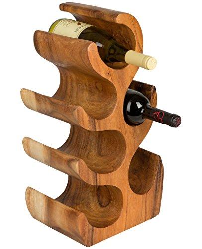 Handelsturm Weinständer für 6 Weinflaschen Weinregal aus Holz Flaschenhalter massiv Flaschenständer Flaschenhalter braun