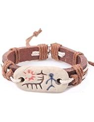 SUYA pulseras,3pcs, cerámica pintada, pulsera de piel de vaca, pulsera retro, joyería, pulsera creativa, regalos creativos