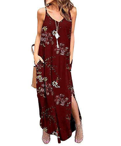 TUDOU Damen Kleid Lässig Spaghetti Strap V-Ausschnitt Split Maxi Kleid Sommer Strand Vertuschen Lange Cami T Shirt Kleider mit Tasche (XXL, Roter Druck)