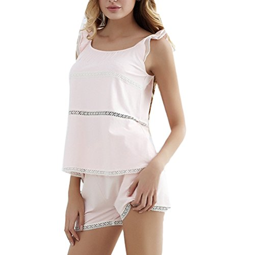 Zhhlaixing Adult Two pieces Pyjamas Set Summer Womens Comfortable Cotton Nightwear Pink
