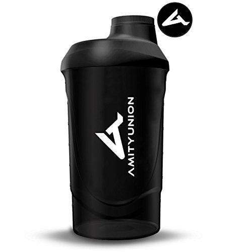 Eiweiß Shaker 800 ml mit Sieb - ORIGINAL Fitness Mixer - Protein Shaker auslaufsicher - BPA frei, Mit Skala für cremige Whey Proteinpulver Shakes, Protein Isolat und BCAA Konzentrate in Schwarz Deluxe (Verschluss Hält)