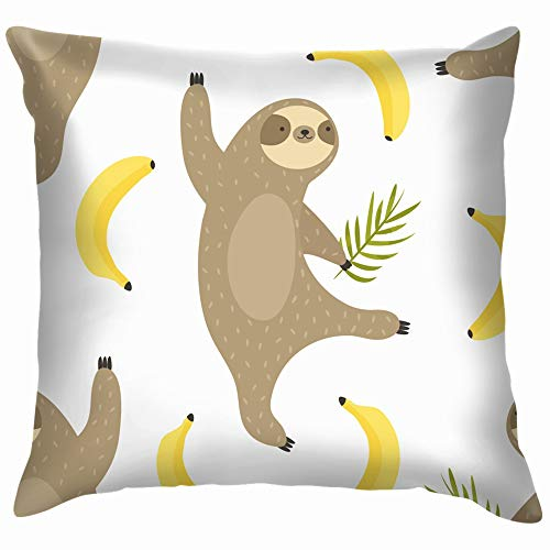 beautiful& Tropical Dancing Sloths Bananas Animals Wildlife Sloth Funny Square Throw Pillow Cases Cushion Cover for Bedroom Living Room Decorative 18X18 Inch