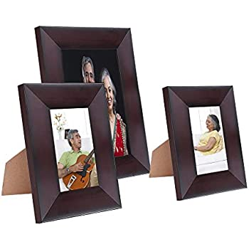 Amazon Brand - Solimo Collage Photo Frames, Set of 3, Tabletop (2 pcs - 4x6 inch, 1 pc - 6x8 inch), Rosewood Color