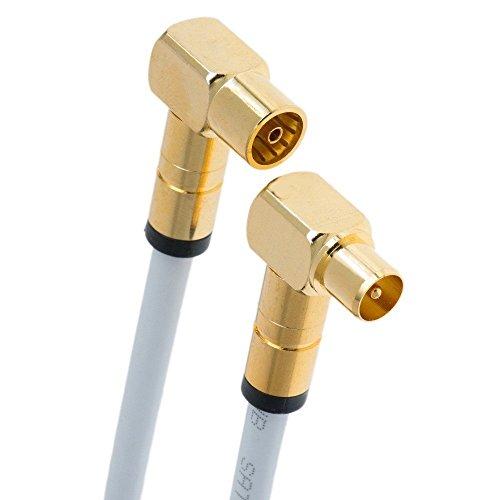Maxx 6m HD Antennenkabel Digital TV Antennen Kabel 135dB 75 Ohm Koax Stecker/Buchse (Kupplung) 90° Winkelstecker VERGOLDET Ultra HD 4K Class A+ (6m, Weiß 2X gewinkelt) Tv Antenne Kabel