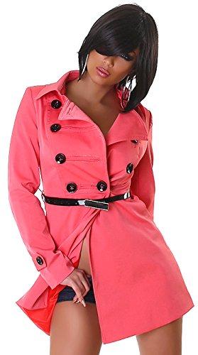 Edler Damen Mini-Trenchcoat - Apricot - Größe 40 - Kurzmantel inkl. Gürtel