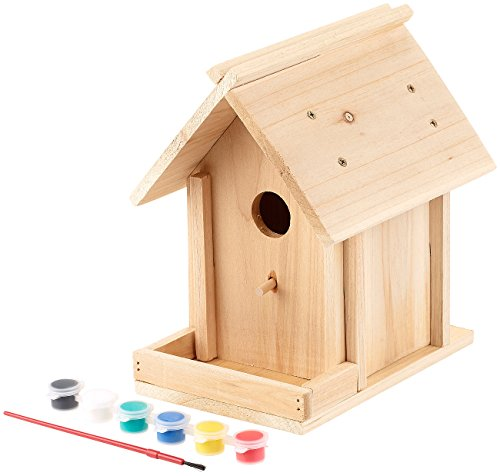 Royal Gardineer Vogelhaus: Nistkasten-Bausatz aus Echtholz, mit Balkon und 6-teiligem Farben-Set (Vogel Nistkasten im Bausatz)