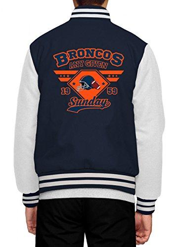 Shirt Happenz any Given Sunday Broncos Collegejacke | American Football | An Jedem Verdammten Sonntag | Super Bowl | Herren | Baseballjacke, Farbe:Dunkelblau;Größe:3XL