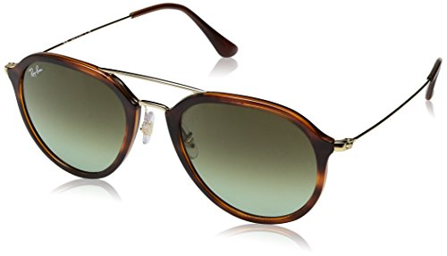 Ray-Ban Rayban Unisex-Erwachsene Sonnenbrille 4253, Stripped Havana/Green Gradient Brown, 53