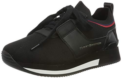 Tommy Hilfiger Damen Knitted Sock Active City Sneaker, Schwarz (Black 990), 38 EU - Leder-logo-plakette