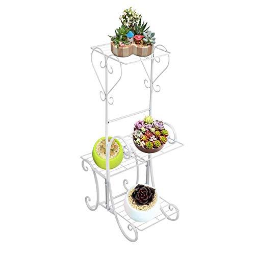 Blumenständer Pflanzenständer, 4 Tier Metall Pflanzenständer, Regale Blumentopf Display Halter Racks für Indoor Outdoor Room Garden Patio Decor, schwarz, White -