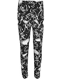 WearAll - Mujeres Tallas Grandes Elásticos Cintura Imprimir Largas Pantalones Leggings - Calavera Rosas - 48-50