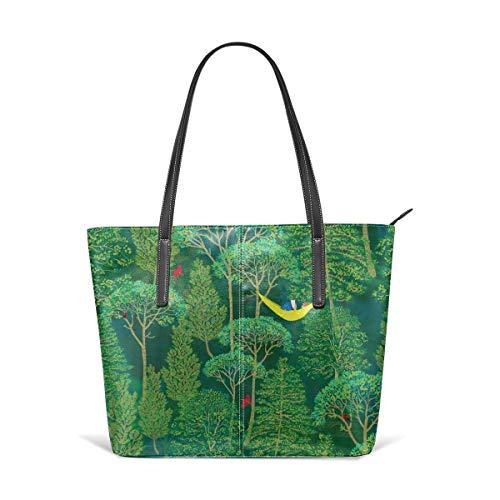 Dama Home Handtaschen für Frauen, verloren in einem guten Buch in einer Emerald Forest Satchel Leder-Umhängetasche, Messenger Bags Totes Geldbörsen (Collection-leder-satchel)