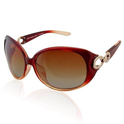 DUCO Damen Sonnenbrille polarisiert Klassisch Stern 100% UV-Schutz 1220 (Braun)