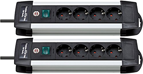 2 Stück Brennenstuhl Premium-Alu-Line, Steckdosenleiste 4-fach - Steckerleiste aus hochwertigem Aluminium (mit Schalter und 1,8m Kabel) Farbe: schwarz
