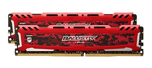 Crucial Ballistix Sport LT BLS2K16G4D32AESE Desktop Gaming Speicher Kit (3200 MHz, DDR4, DRAM, 32GB, 16GB x2, CL16) rot