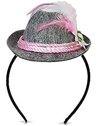 Oktoberfest Haarreif mit Mini Hut rosa weiss grau