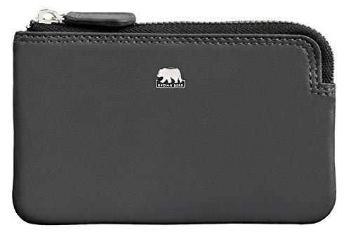 Brown Bear Schlüsseletui Leder Grau mit RFID Schutz Reißverschluss und Doppelnaht hochwertig