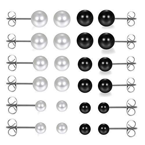 Aroncent 12 Paar Unisex Ohrstecker Set Edelstahl Imitation Perlen Kugel Ohrringe Ohr Piercing Geschenk für Herren Damen, Schwarz Weiß Silber, 3mm/4mm/5mm/6mm/7mm/8mm