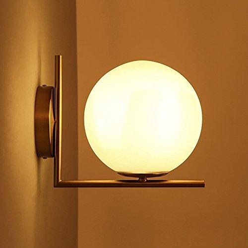 HAIZHEN Wandleuchte Moderne Wandleuchte One-licht 200MM E14 Lampenfassung Schlafzimmer Studie Bett Flur Bügeleisen Beschichtung Glas LED Wandleuchte (Farbe: Warmes, weißes Licht)