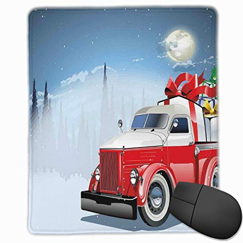 Mouse Mat Stitched Edges, Red And White American Truck In December Winter Night Moon And Stars Tree,Gaming Mouse Pad Non-Slip Rubber Base