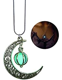 GPIRAL Luna Estrella Que Brilla intensamente Collar de la joyería Colgante Elegante Cadena de Serpiente en 45,72 cm, Color Turquoise Azul