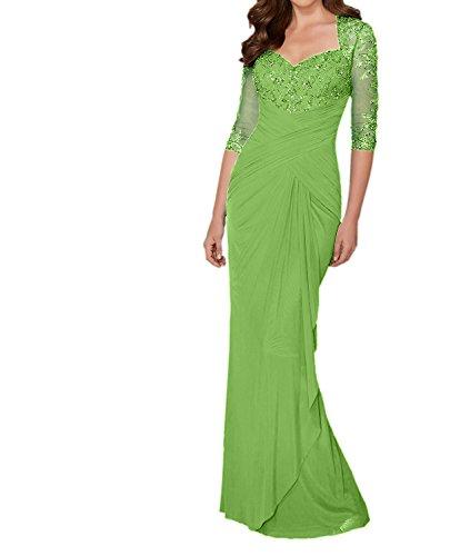 Charmant Damen Grau Langes Abendkleider Ballkleider Brautmutterkleider mit Langarm Pailletten Festlich Kleider Grün