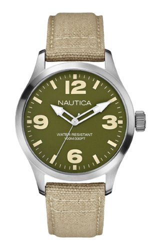 Nautica BFD 102 Men's Quartz Watch with Green Dial Analogue Display and Beige Textile Strap A11558G