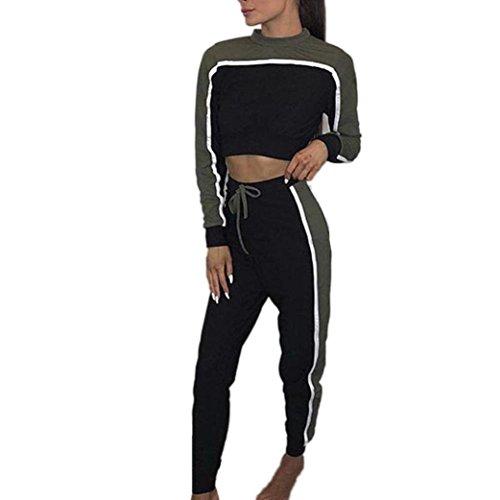 Hausanzug Frauen, ZIYOU Damen Sportanzug Trainingsanzug Pullover Jogginganzug Freizeitanzug Sweatshirts + Trainingshose (Armeegrün, S) (Top Langarm Clima)