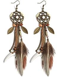 4cd24ee07259 Republe Mujeres pluma de las muchachas gancho joyería de la boda pendientes  largos de la borla
