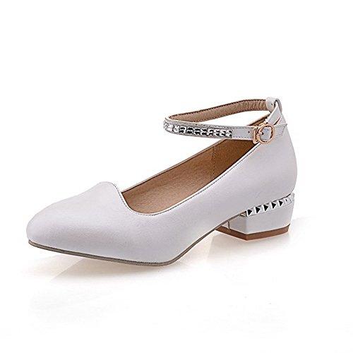 Allhqfashion Schnalle Pumps Eingelegt Damen Zehe Rund Absatz Weiß Schuhe Niedriger 7rg7qw