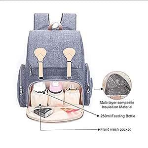 Tiswell Sac à langer imperméable à grande capacité avec sangles de poussette, matelas à langer, poche isotherme pour bouteille et poche fendue humide pour bébé maman et papa