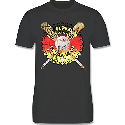 Baseball - German Baseball since 1949 - L190 Herren Premium Rundhals T-Shirt Dunkelgrau