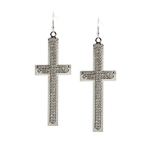Geralin Gioielli Damen Ohrringe Silber Strass große Kreuz -