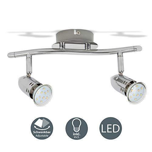 B.K.Licht - Lámpara de techo con 2 Focos LED GU10, focos ajustables...