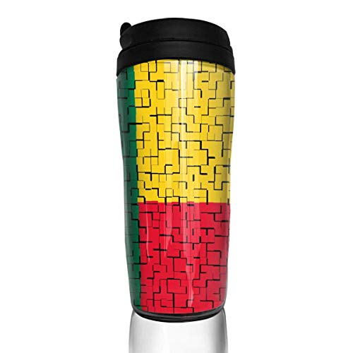Travel Coffee Mug Benin Flag Puzzle 12 Oz Spill Proof Flip Lid Water Bottle Environmental Protection Material ABS