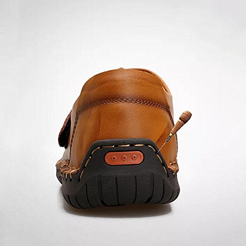 Hommes Casual Chaussures de sport pour hommes en plein air chaussures dexercice en plein air mocassins plats en cuir ( Color : Reddish brown-42 ) Light brown-39