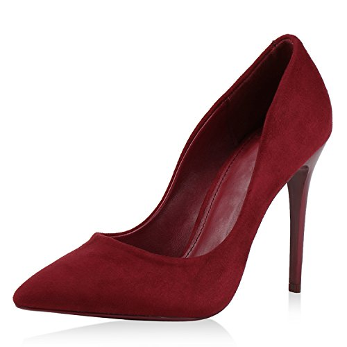 Damen Schuhe Pumps High Heels Lack Stilettos Leder-Optik Dunkelrot DarkRed 40