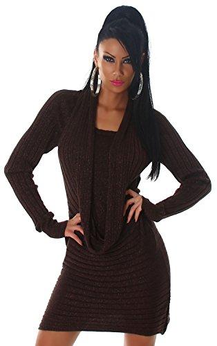 Damen Strickkleid & Pullover mit Wasserfall-Ausschnitt Einheitsgröße (34-40) Dunkelbraun