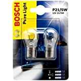 Bosch P21/5W Pure Light 1987301016Double Blister Lot de 2lampes ampoules voiture 21/5W 12V Feu arrière frein lumineuses Position antibrouillard