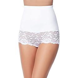 Merry Style Culotte Gainante Gaine Amincissante Ventre Plat sous-Vêtements Femme MS10-134 (Blanc, XXL)