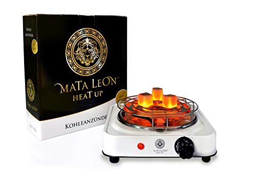 Mata Leon Heat Up hochwertiger und Blitzschneller Elektrischer Kohleanzünder inkl. Gitter für Shisha Kohle 1000W