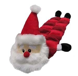 Chien de jouet de Noël - tapis de sifflet avec 16 squeakers! Doux, jouet pour chien en peluche avec de multiples squeakers et un hochet. Dans une conception Père Noël. Seulement légèrement rembourrés.