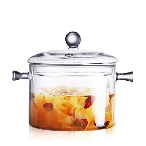 Oneisall - pentola per cucinare in vetro, riscaldabile, trasparente, ideale per noodle 1,5 l transparent