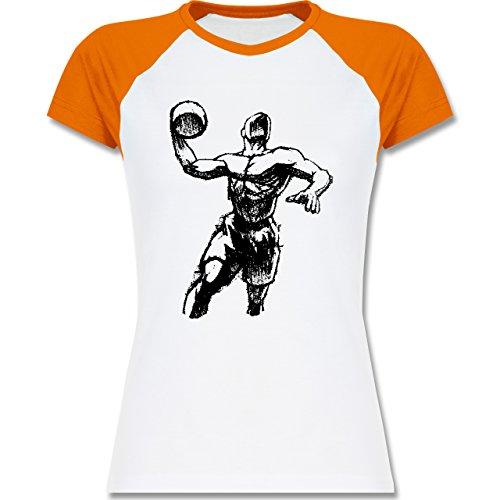 Basketball - Basketball Sprungwurf - zweifarbiges Baseballshirt / Raglan T- Shirt für Damen Weiß/