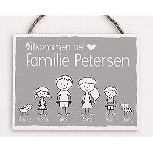 Personalisiertes Familienschild I Familienschild I Familienname I Holzschild-Familienname I Türschild aus Holz I Namensschild I Holzschild Eingang I Geschenk Wohnungseinweihung
